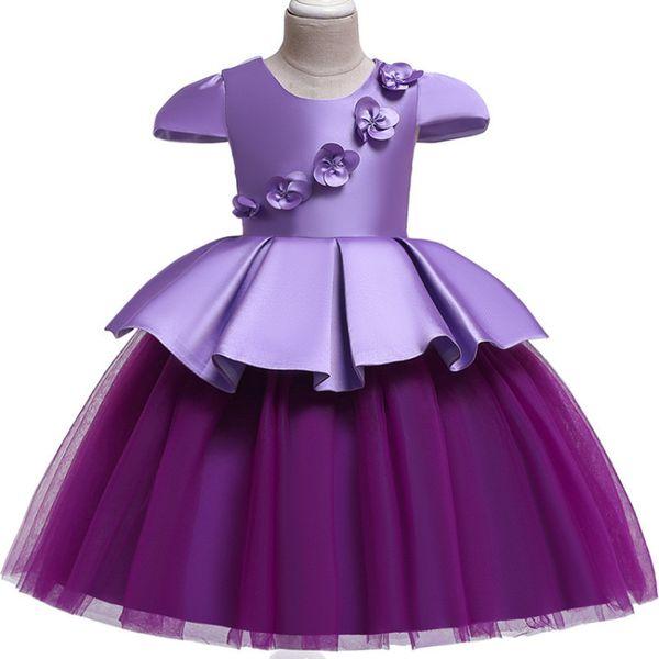 2019 European American Children's Satin Mesh Splice Color Simple Applique Girls Princess Kids Wedding Dress J190616
