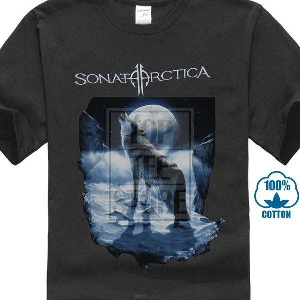 Sonata Arctica Mens T Shirt Howling Moon Wolf In The Snow Image