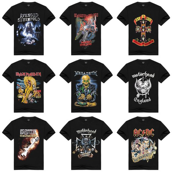 S-3XL Black 100% Cotton T-shirts For Men Metal Hard Rock Band Printing Vintage T-shirt High Quality Hip Hop Club Tee Short Sleeve HAH0301