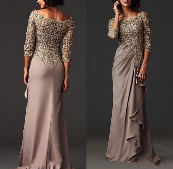 Arabisch Modest Spitze-Mutter Kleid Elegant Scoop Neck Mantel Mutter der Braut-Kleid-formales Abendkleid
