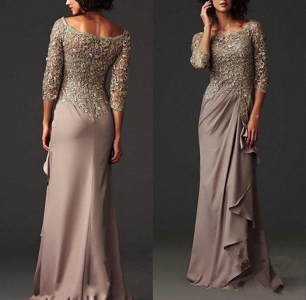 Gelin Elbise Örgün Akşam Önlük ait Arapça Modest Dantel Anne Elbise Şık Scoop Boyun Kılıf Anne