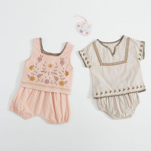 Baby kids Designer Clothing Due pezzi Set girl boy manica corta Camicia ricamo fiori + Short set bambini Estate 100% cotone Due pezzi