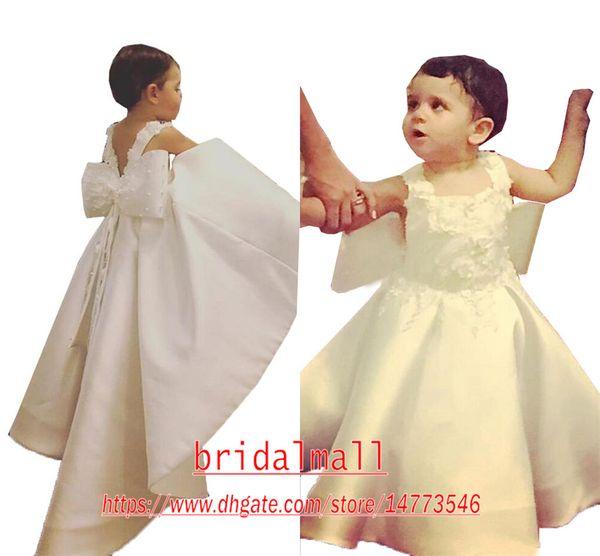 Marfil vestidos de niña de las flores con el cuadrado del arco grande fiesta de cumpleaños de los niños apliques Perlas Vestidos princesa brillo vestido del desfile de las niñas