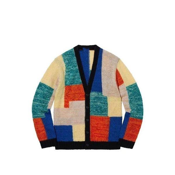 top popular 19SS Patchwork Mohair Cardigan Jacket Fashion Stitching Box Sweater Fashion Men Women Couple Jacket High Quality SWEATSHIRT HFWPJK129 2019