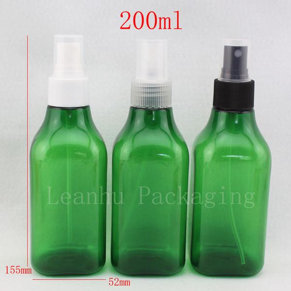 200 ml x 30 spray de ajuste vacío botella cuadrada recargable verde 200cc de color envases de envases cosméticos, botella de spray de perfume