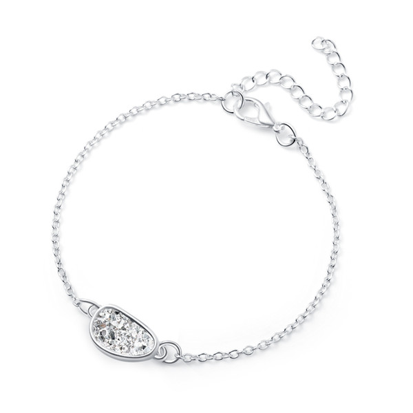 Silver Bracelets Crystal Cluster Charm Bracelet Ladies Irregular Natural White Rain Stone Love Jewelry Eemale Jewellries Women Accessories