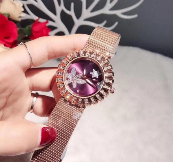 Orologi da donna di lusso Full Diamonds con strass fiore lunetta quadrante orologio in acciaio inossidabile orologio da polso al quarzo per le donne regalo di San Valentino