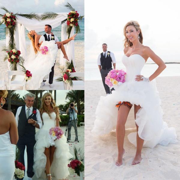 Sexy Verão Praia Vestidos de Casamento Oi Lo Long Ruched Trem Querida Strapless Marfim Boho Boho Vestidos de Noiva Espartilho Voltar Plus Size Personalizado