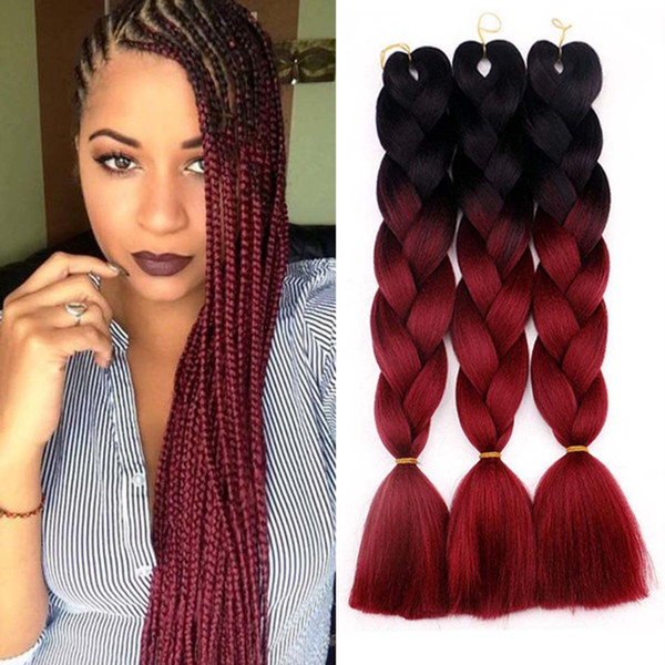 Hot! 24inches 2 Tone Jumbo Braid Ombre Braiding Hair X Pression Hair  Extensions Afro Box Braids Crochet Hair Synthetic Fiber Braids Milky Way  Weave