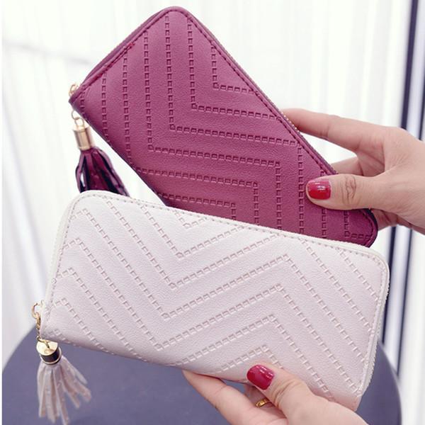 Femmes Porte-cartes En Cuir Portefeuille Lady Tassel Sac À Main Bourse Long Portefeuille Clutch Checkbook Bag