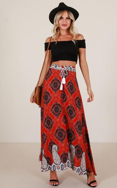 Compre Falda Bohemia Falda Larga Rojo Vintage Boho Jupe Longue Borla Vendaje Boho Larga Playa Streetwear Casual Faldas Mujer Moda 2019 A $34.94 Del