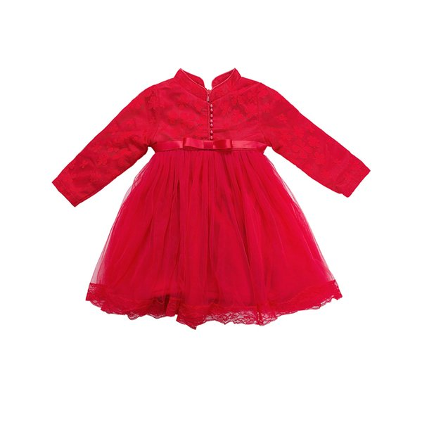 WLG New Year girls winter dresses kids velvet floral patchwork mesh dress baby red thick warm clothes children 3-7 years