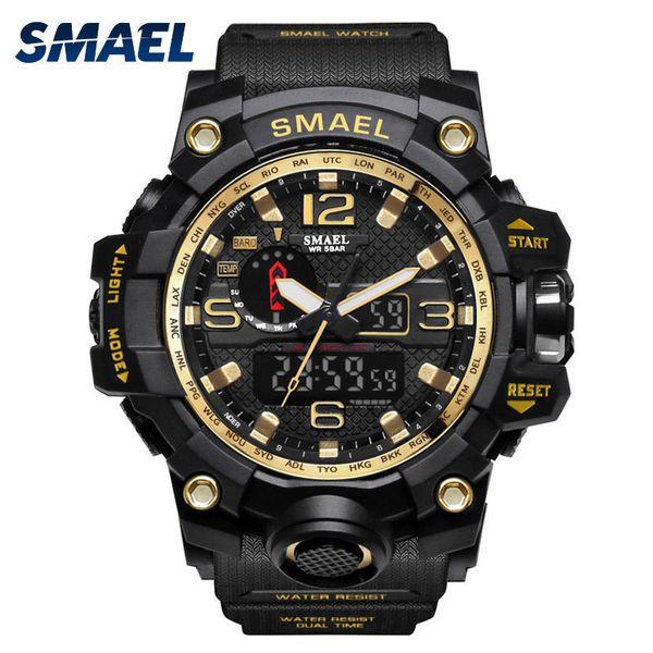 Mens Watches Gold SMAEL Brand Watch S Shock Digital Wristwatch Alarm timekeeper 1545 Sport watch Dual Time Clock Men Militar