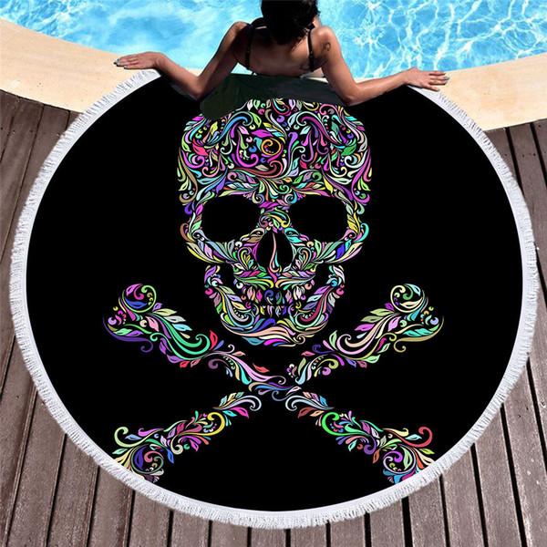 Sommer große runde Strandtuch Zucker Schädel mit Blumenmuster Quaste Boho Badetuch Yoga Picknick Wandbehang Mikrofaser Strand