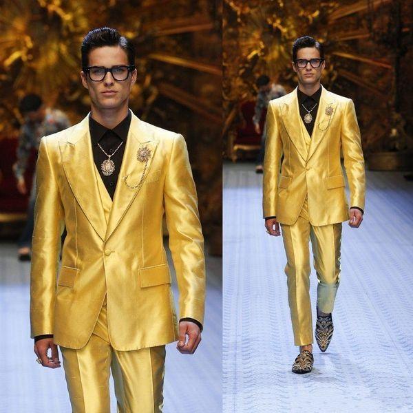 Fashion One Button Shiny Yellow Groom Tuxedos Peak Lapel Men Wedding Party Groomsmen 3 pieces Suits (Jacket+Pants+Vest+Tie) K63