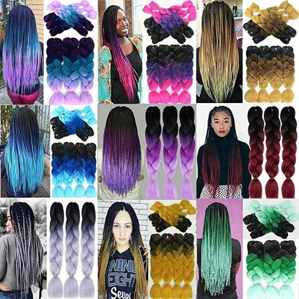 Großhandel Großhandel Ombre Flechthaar Synthetic Two Tone Haarfarbe Rosa Braun Jumbo Geflechte Bulks Extensions Cheveux 24inch Ombre Box Zöpfe Haar