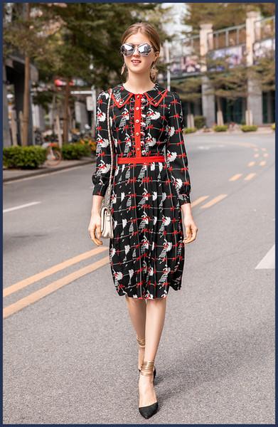128 Nuovo arrivo 2019 Primavera Estate Dress Runway Dress Flora Manica lunga pannelli impero Collo bavero Fashion JQ