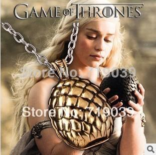 Zrm Hot Free Shipping Wholesale 20pcs/lot The Game Of Thrones Dragon Egg Pendant Necklace Jewelry For Men And Women C19041203
