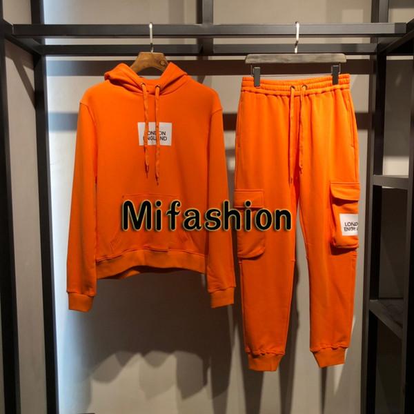2019 Autunno Inverno Moda Inghilterra Londra Uomo Lusso Arancione Abiti da lavoro Sport Felpa Pantaloni Abito Donna Felpa con cappuccio Pantaloni Tuta