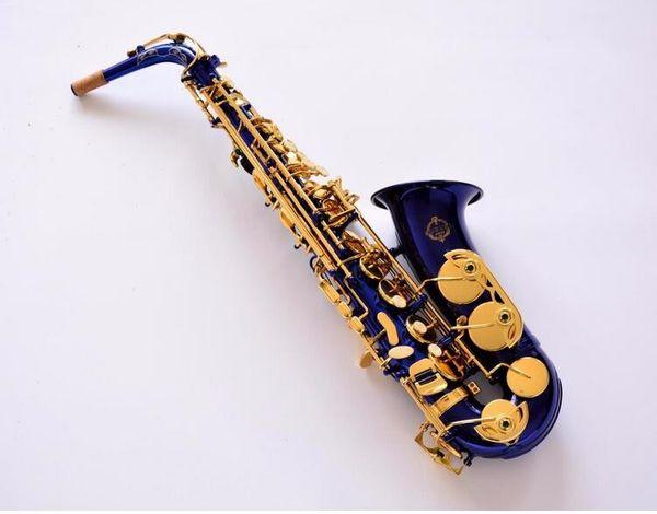 New Arrival Suzuki Alto Eb Tune Saxophone Unique Blue Body Gold Lacquer Key E Flat Music Instrument Sax With Mouthpiece Case