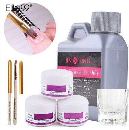 Elite99 Acrylique LiquidPowder Cristal Ongles Polymère Nail Art Conseils Builder Pen Coupe Du Cristal Outils Poudre Acrylique L'ensemble