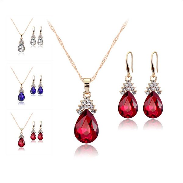 Red Blue Crystal Diamond Water Drop Necklace Earrings Sets Gold Chain Necklace