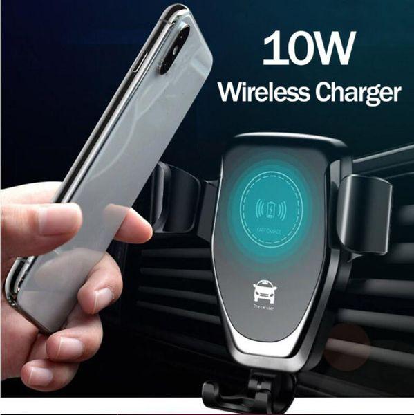Qi gravidade carregador sem fio para iphone x xr xs max 8 plus 10 w carregador de carro sem fio rápido almofada de carregamento para samsung s9 carro titular carregador ho