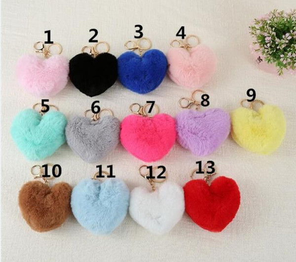 best selling 1800pcs Fluffy pompom Keychain Gifts Women Soft Heart Shape Pompon Fake Rabbit Key Chain Ball Car Bag Accessories Key Ring R248