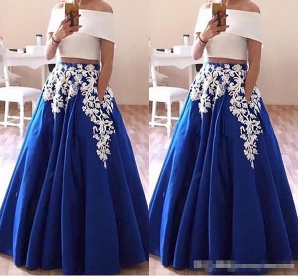 2019 Lace Appliques Two Piece Prom Dresses Boat Neck Satin Arabic Evening Dresses Elegant Royal Blue Party Gown Robe De Soiree