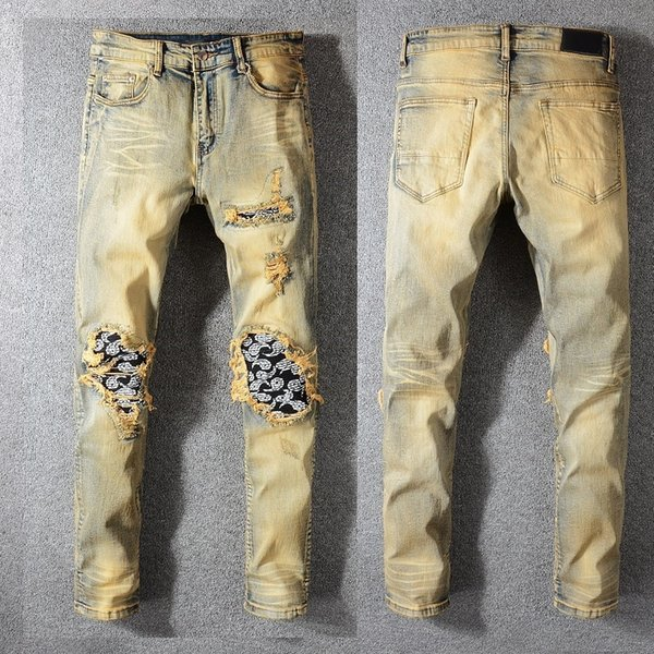 New Italy Style #582# Men's Distressed Dirty Washed Denim Blue Jeans Art Ribs Patches Skinny Pants Slim Trousers Size 28-40