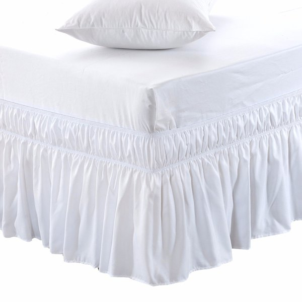 Wrap Around Bed Skirt Elastic Bed Ruffles Easy Fit Easy Off Fade Resistant Solid Color Bed Skirts Hotel Quality Fabric Spread