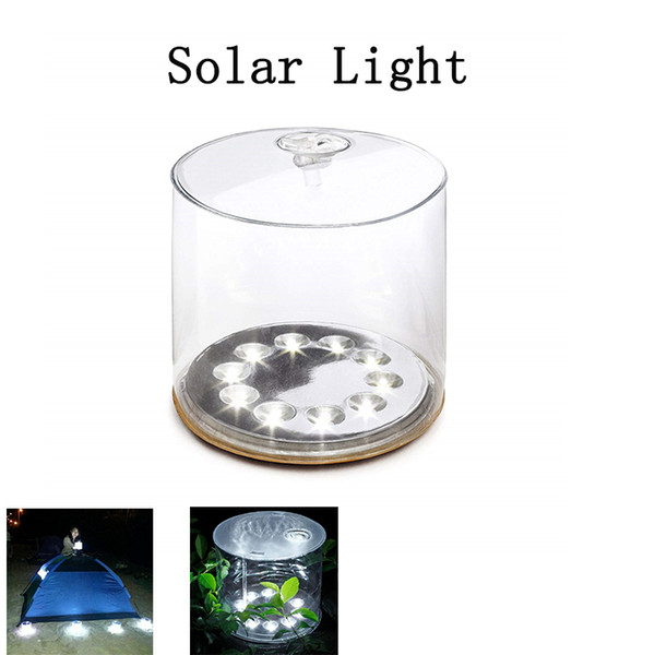 Luce solare gonfiabile 10 LED Lampada solare con manico Lanterna a led solare portatile per campeggio Escursionismo Cortile da giardino