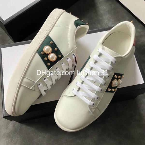 Высококачественная женская мода Роскошные белые кожаные коричневые ботинки на плоской подошве с плоским дизайном Lady Black White кроссовки для женщин large size40 41
