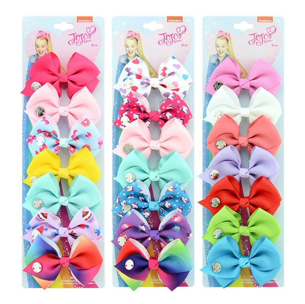 best selling JOJO SIWA 3.5inch LARGE Rainbow Unicorn Signature HAIR BOW with card and sequin logo baby girl Children Hair Accessories fashion hair clip