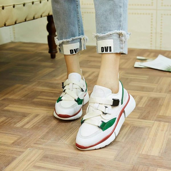 Designer Brand Women Ladies Mid Heels Sports Shoes Trainers Girls Buckle Strap High Tops Canvas Leather Sneakers Luxury Shoes