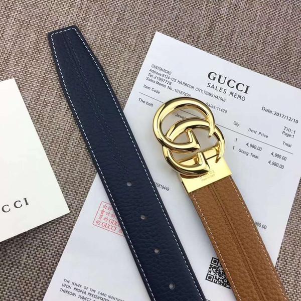 Cinto de cintos de grife cinto de luxo para o Homem Moda Cintos de Couro Moda Casual Fivela Suave 2side pode ser usado 1 azul 1 marrom de Alta Qualidade