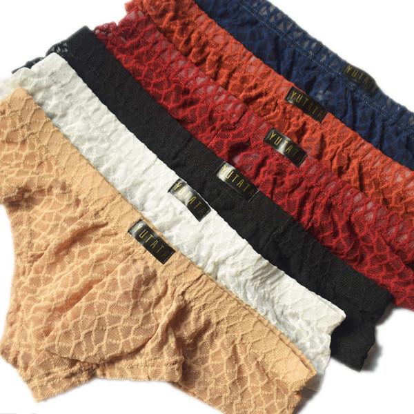 Wholesale Underwear Sexy Boxers Shorts Transparent Mens Penis Pouch Cueca Underpants Summer Lingerie Males Boxershorts 6pcs/lot