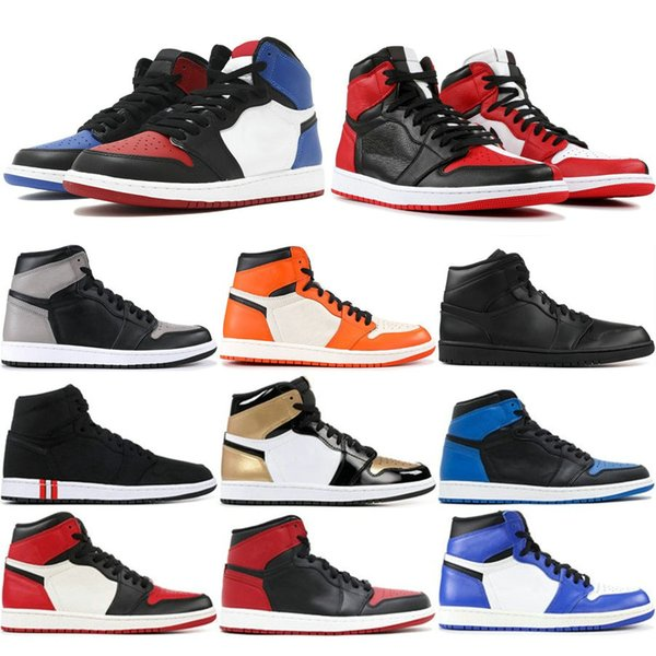 1 Hohe OG Mens Basketball Schuhe Verboten Bred Toe Shadow Gold Top Beste Qualität Designer Herren Leichtathletik Turnschuhe Trainer 40-47