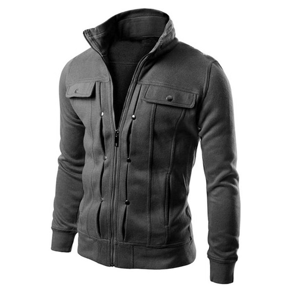 New Autumn Winter Men Solid Color Stand Collar Zip Up Slim Long Sleeve Jacket Coat