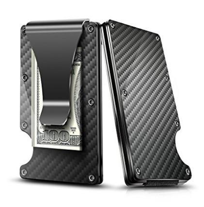 Fermasoldi in fibra di carbonio nera, 2018 nuova versione di aggiornamento Portafoglio di blocco RFID, porta carte di credito design sottile per carte di credito da uomo