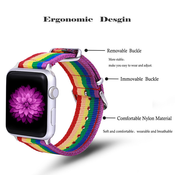 For apple watch nylon strap band apple band rainbow strap iWatch Series 4 3 2 1 Sport smart Watch Strap free shipping DHL
