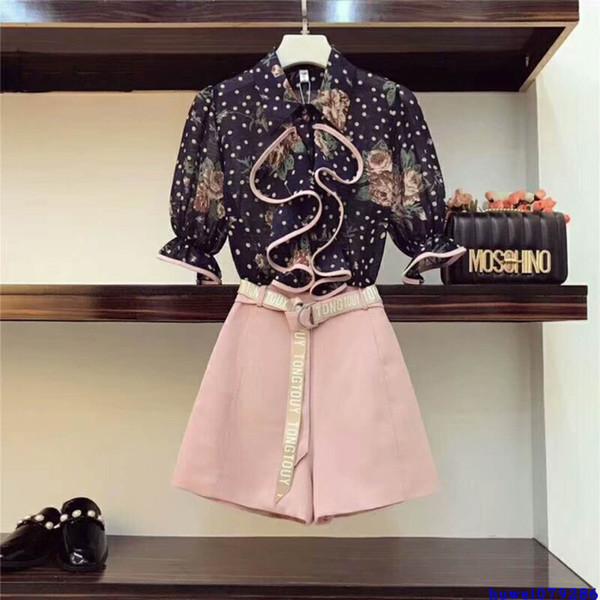SHTONGHUA 2019 nouvelle piste femmes costumes d'été volants chemise à manches évasées en mousseline de soie Flare Shirt + Shorts loisirs 2 pièces ensembles avec ceinture