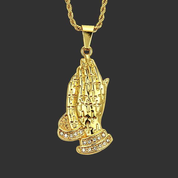 steampunk men prayer gesture pendant necklace 2019 punk style personalized fashion gold long rope chain big necklace gifts
