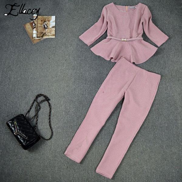 Ellacey 2019 весна осень гусиные лапки женские деловые брюки костюмы Checker плед оборками костюмы для женщин 2 шт. Набор женский Y19042901