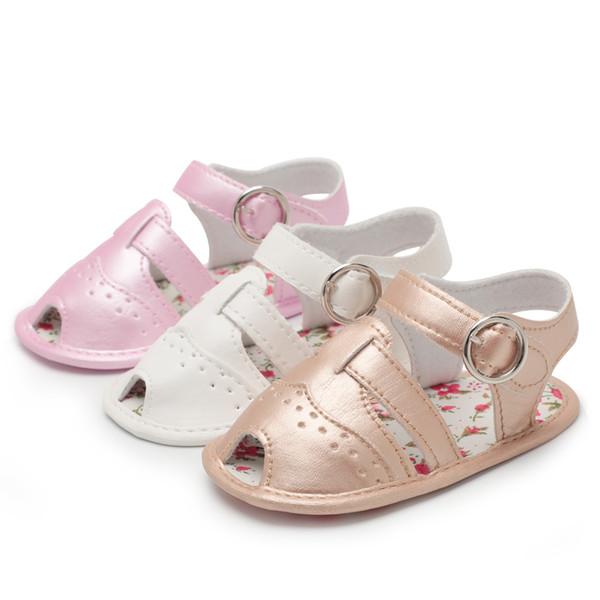 Baby Girl Shoes boy Sandalias Toddler Infant New PU Suela blanda peep-toe Flor al aire libre caminando Primeros andadores Zapatos de verano para niña