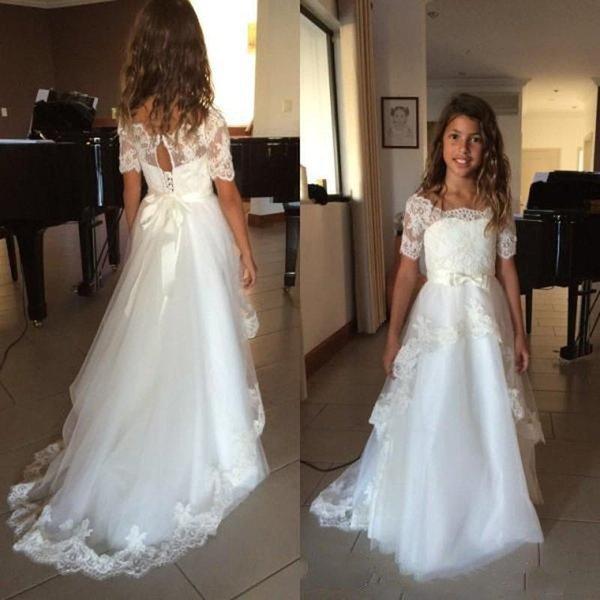 2019 elegante colher pescoço vestidos de meninas de flor para o casamento mangas curtas oco voltar apliques fita arcos uma linha de tule vestido de primeira comunhão