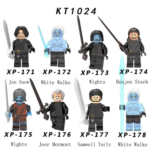 New Game of Thrones Season 8 Figure Jon Snow Benjen Stark White Walker Wights Jeor Mormont Samwell Tarly Building Blocks Toys