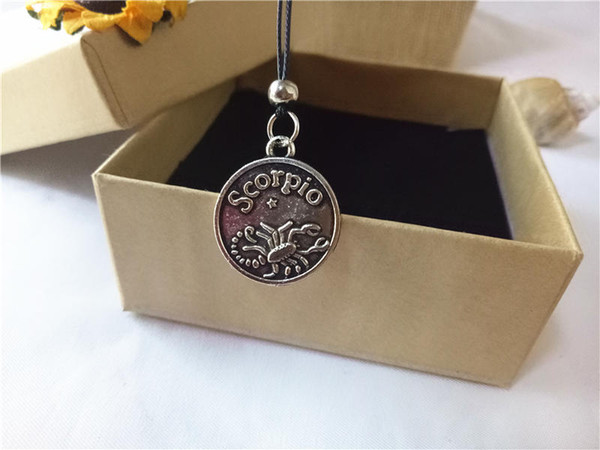 cecmic 12 constellation scorpio zodiac small round vintage silver pendant necklace with leather rope chain for men and women