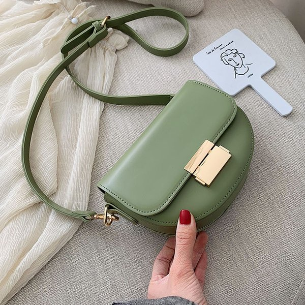 saddle bag for women 2019 green solid color leather crossbody bags lady summer small purses and handbags female shoulder bag