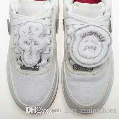 Yüksek Kaliteli Kuvvetler x TRAVIS SCOTT Erkek Kadın Beyaz Kaykay Ayakkabı 3 M kutu boyutu ile Moda Rahat Sneakers yansıtmak 5.5-11